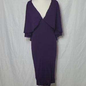 Fuzzi Womens Dress Purple Sheath V-Neck Cape Drape